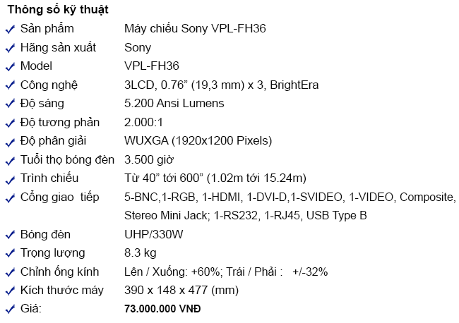 May chieu sony vpl-fh36
