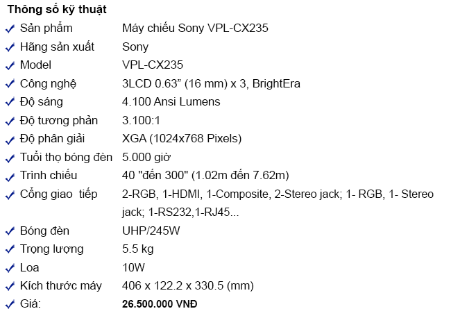 may chieu sony vpl-cx235