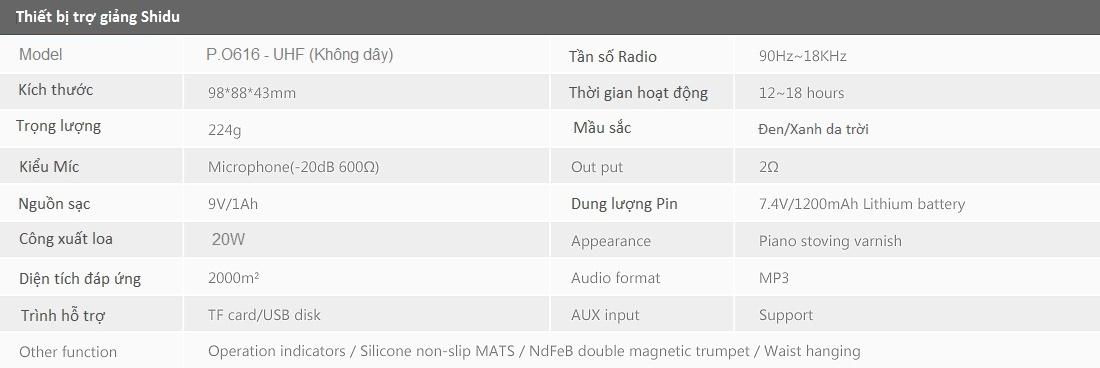 Thiet bi tro giang Shidu PO616 UHF gia re