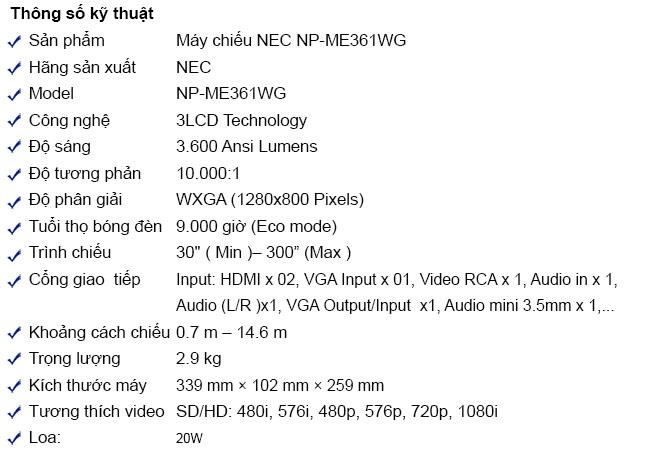 Máy chiếu NEC NP-ME361WG giá rẻ Toàn Quốc