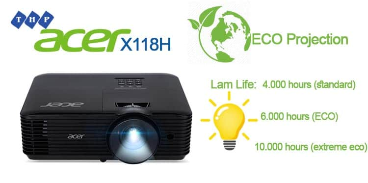 cong nghe ECO smart-may chieu Acer X118H-tanhoaphatcorp.vn